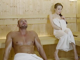 Russian gal with braided hair and large mammories got drilled in the sauna, till such time as she came