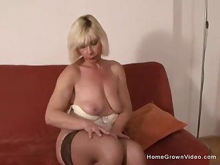 Full-grown blonde gets a big black cock further up her arse