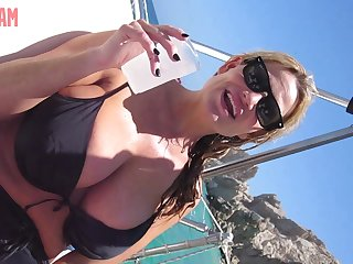 Kelly Madison's tits covered in semen after an amazing milking game