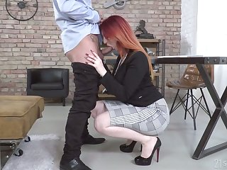 Dyed red haired son Zara DuRose gives BJ to their way client and gets fucked mish