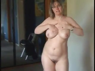 Hot milf with natural big tits as she got so randy and masturbate infront of her cam