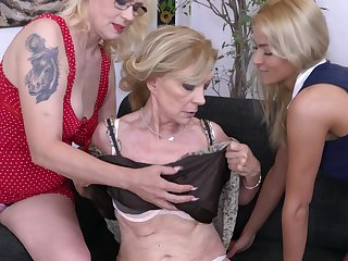 Celeste in a lesbian threesome with two full-grown blonde MILF babes