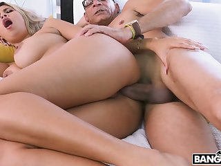 Curly titillating battle-axe Avril Santana lures nerd helter-skelter ride his strong cock on top