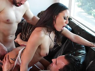 Tight Latina butt fucked at hand DP mode