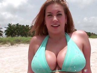 Stunning big bottomed bikini cowgirl wanna hate poked from behind