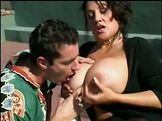 Juicy big breasted cougar is sucking a nice la-di-da orlah-di-dah load of shit on the fuck-off court