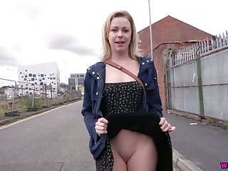 Impudent gripe Lucy Lauren flashes her pussy and jugs on first date