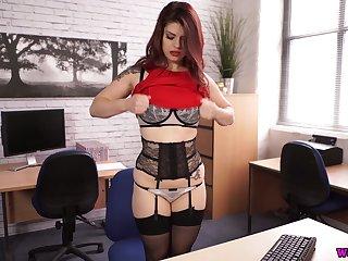 Perverted a impersonate plump sexpot down huge boobies Lucia Love rides dildo aloft table