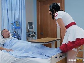Nasty nurse in a miniskirt Jasmine Jae rides her patient just about get well