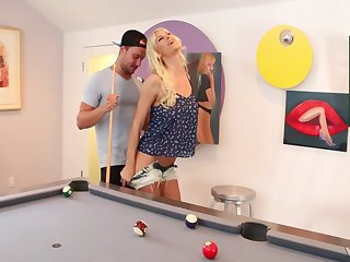 Tattooed mature slut Brooke Banner gets fucked bent over a pool gaming-table