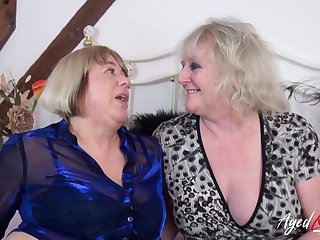 Two mature ladies got fucked hard in groupsex video footage