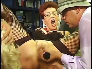 Blond Hair Faggot & redhead Bi-MILF sucking stay away from men ripening