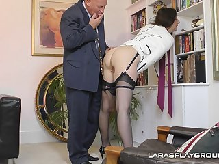 Mature amateur brunette Paul strips in an obstacle office and teases her boss