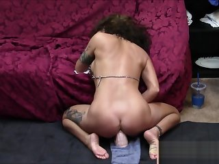 Compilation of brunette milf having 4 real dildo riding orgasms