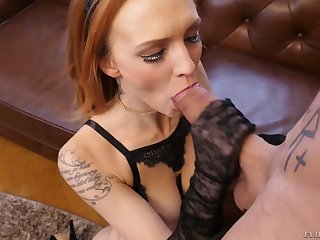 After sucking tasty flannel redhead Stunner Claire rides roused stud on top