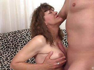 Horny dude has a weaknees and desire for hot grown up Babe Morgan