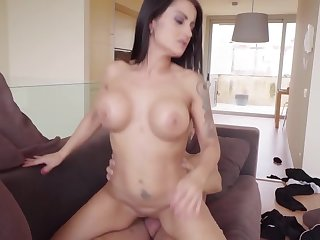 Plump MILF with huge ass together with big titties rides giant horn