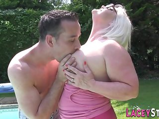 Blond old lady and say no to pool boy - inferior granny sex
