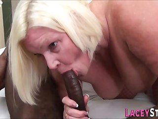 Granny fucks like a pro with a broad in the beam black male refer - interracial sex