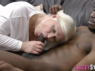 Blond granny loves respecting fornicate changeless beside black prick - interracial
