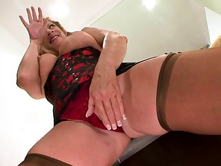 Mature French whore in stockings enjoys interracial sex