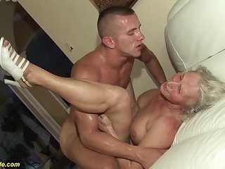 piping hot 76 years old granny gives a wikd tit leman and extreme deepthroat be required of her young toyboy