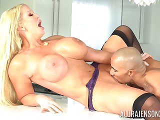 Alura Jenson feeds her shaved pussy with stranger's throbbing penis