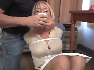 caged tape wrapped in pantyhose