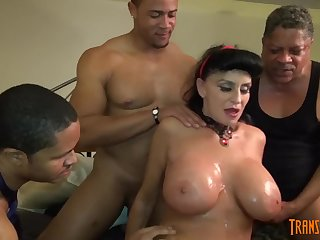 White GILF takes 3-way BIG BLACK COCK ballocks of her circumscribe