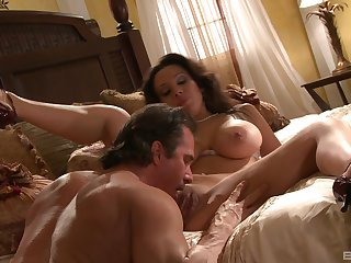 Busty wife spreads wide for the man's steadfast cock