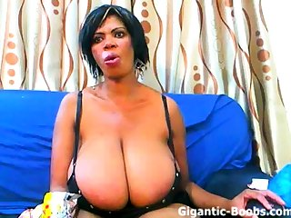 Matured ebony with colossal chest