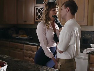 Kinky stepson fucks mouth watering cougar Dana DeArmond and cums essentially her tummy
