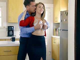 Stunning Caucasian nympho Lena Paul gives a really sensual BJ in an obstacle office