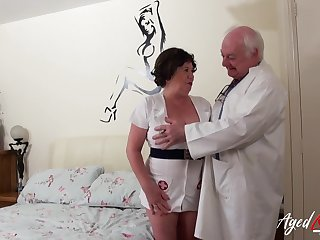 Old nurse cums in all directions romp around an age-old perverted doctor