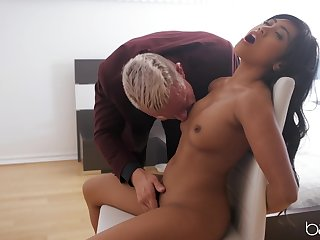 Asian concerning tiny tits, first time sex play concerning an elder pauper