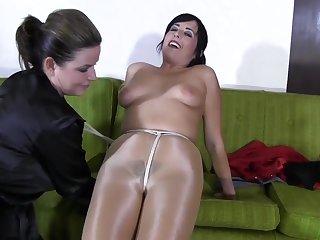 Hot milf in pantyhose bondage lesdom