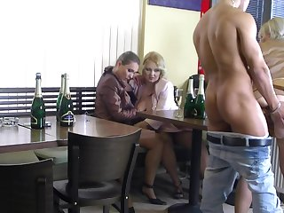 Intense sex at burnish apply bar with a bunch of hot women
