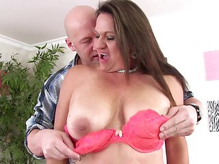 Chubby fit together Laylani Wood in red undergarments added to frowning stockings