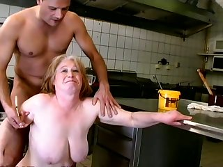 Depraved mature whore nearby saggy big boobies gives quite a for detail blowjob