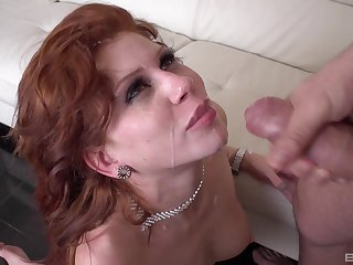 Redhead wife Brookly Lee fucked boloney deep and comestibles all be incumbent on the cum