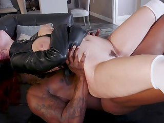 Sensual women try burnish apply black monster in a perfect fetish portray