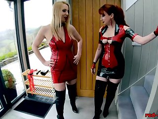 Red XXX increased by Lucy take a crack at fun in their latex outfits