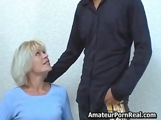 Amazing Tow-headed Russian Milf Porn Real Fucks Young Dude