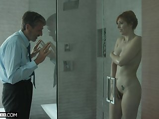 Old spooky man spying on a hot MILF with big tits in the shower