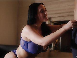 Talkative quite chesty MILF Abigail Mac flashes her boobies in sexy bra