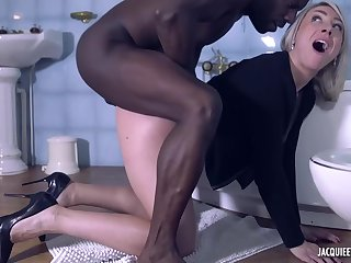 Dirty minded bazaar milf, Julie is fucking a horny, black man, while down the bathroom