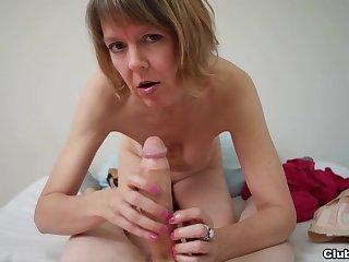 Mature sucks and strokes cock in flawless POV