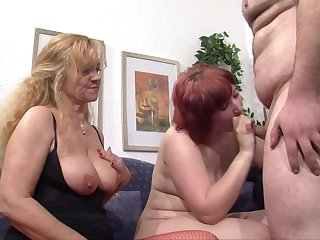 Big redhead wife shares the brush lover with a full-grown blonde lassie