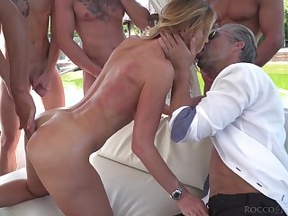 Blonde starlet fucked hard and covered at hand cum during hardcore gangbang