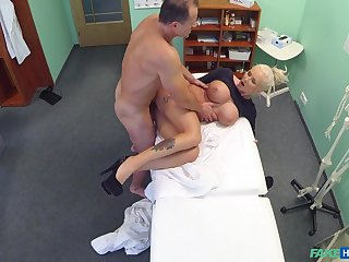 Chesty kermis whore gets some action adjacent to the doc's office